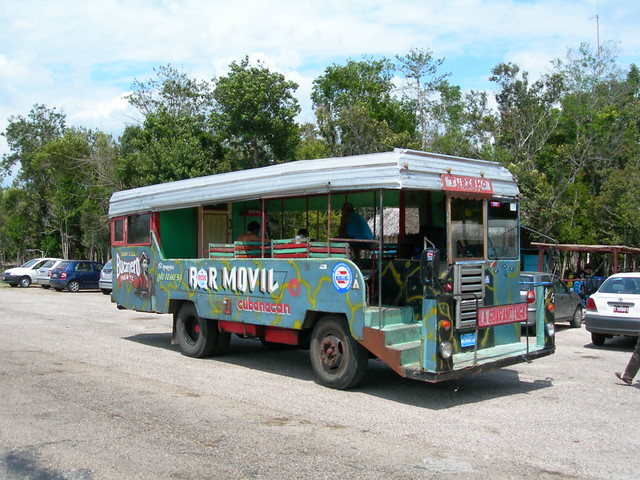 Tourist bus at the Bay of Pigs