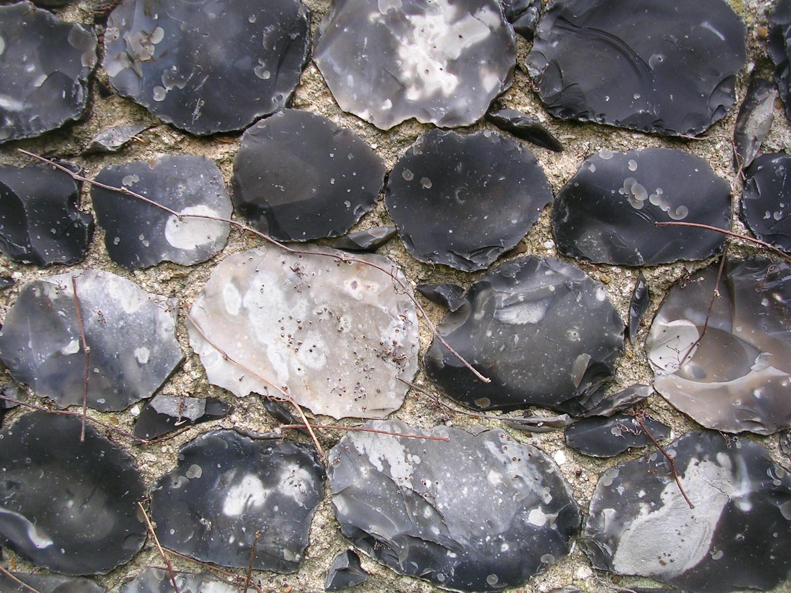 Flint in church wall Stratford St Mary Manningtree circular.