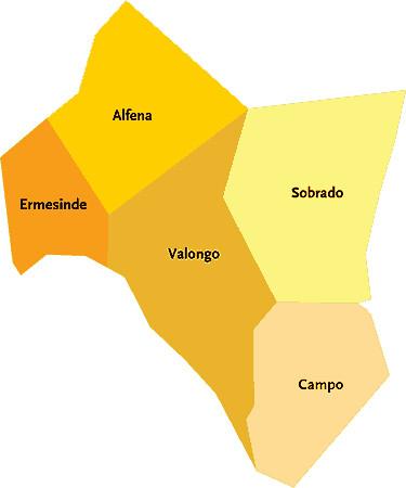 Concelho De Valongo Portugal Mapa Das Freguesias Jorge