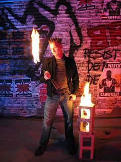 Brian Brushwood promo photo fire eating   by shwooddotcom