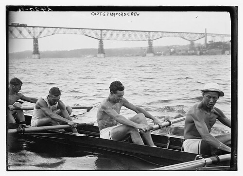 [Stanford University crew rowing on Hudson River with Poughkeepsie Bridge, New York, in background]  (LOC) | by The Library of Congress