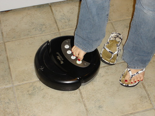 So easy to use, even a bodiless pair of shins and feet can do it!  You could save 15 hours or more with Roomba. | by colorblindPICASO