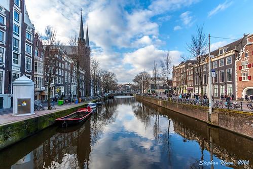 reflection church netherlands amsterdam clouds canal nicholas singel kerk jesuit koningsplein krijtberg
