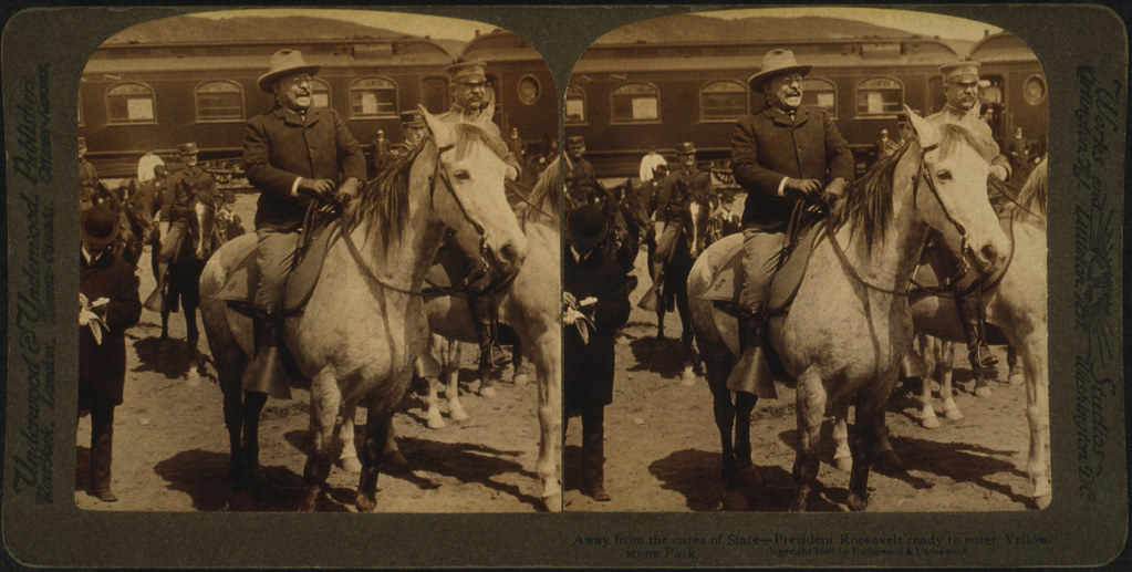 No Known Restrictions: President Theodore Roosevelt on Horseback by Underwood, 1902 (LOC)