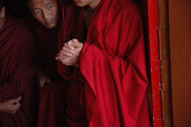 Monks eagerly awaiting the Lama's arrival, So very happy! Sakya Lam Dre, Tharlam Monastery of Tibetan Buddhism, Boudha, Kathmandu, Nepal