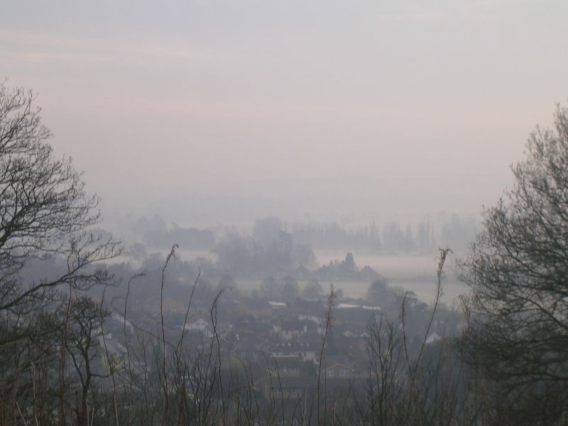 Misty view Dorking to Reigate