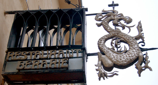 Sign for the restaurant in the building where Vlad Tepes was born