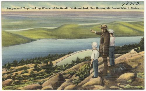 Ranger and boys looking Westward in Acadia National Park, Bar Harbor, Mt., Desert Island, Maine