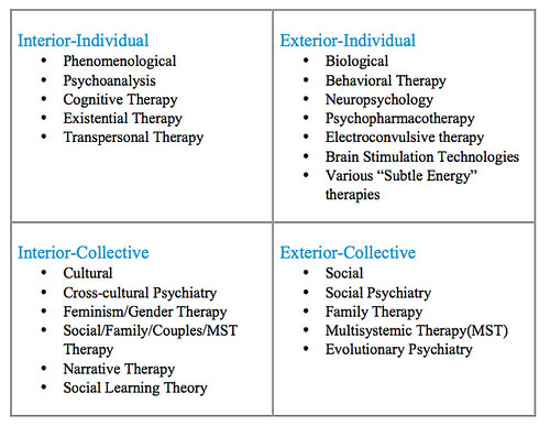 Psychiatric Schools within the Four Quadrants | Source: Intr