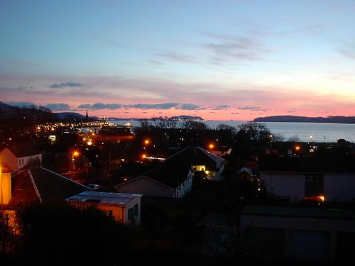 sunset in largs, ayrshire, scotland