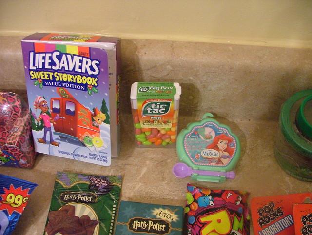 story book lifesavers, tic tacs, li'l mermaid candy