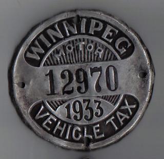 WINNIPEG MOTOR VEHICLE TAX plate 1933