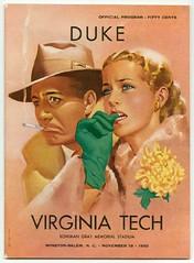 Duke vs. Virginia Tech Game Program Cover, November 18, 1950 | by Duke University Archives