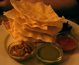 Poppadoms and chutneys at Ganapati, Peckham, London SE15 | by Kake .