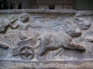 Roman Marble Sarcophagus with the Four Season Referenced in Relief (detail lid reliefs: Eros in chariot pulled by bears[spring]) | by peterjr1961