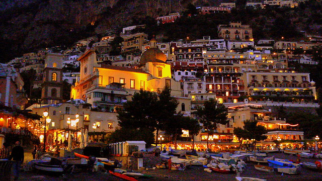 Positano at night - Duomo and East side of town