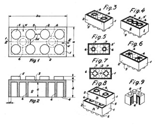Illustration fra Legos patent, 1958 | by dkpto