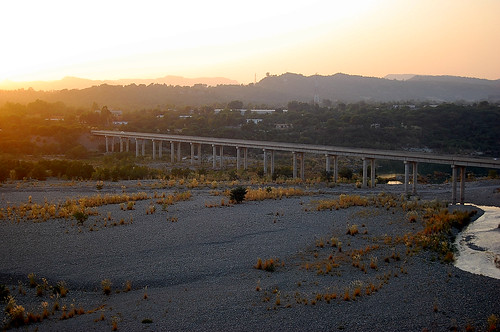city bridge pakistan sunset river town kashmir jammu andscape mirpur zad