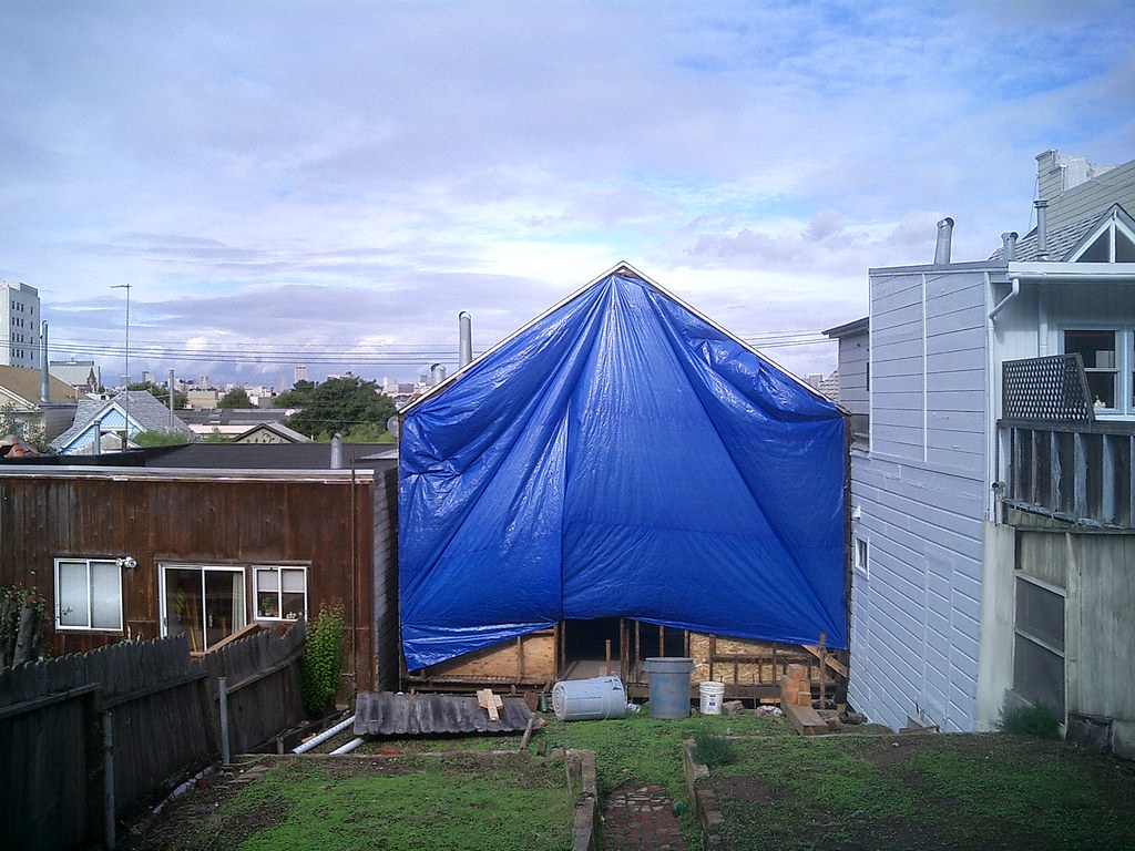 Blue Tarp by Christo | Our house, under construction in Octo