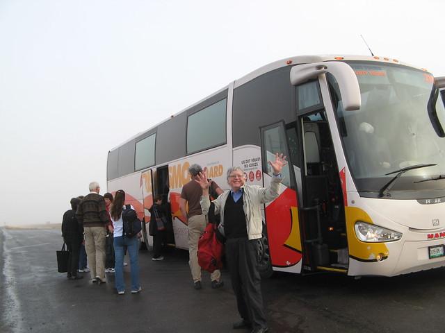 Changing buses near Juarez, Mexico