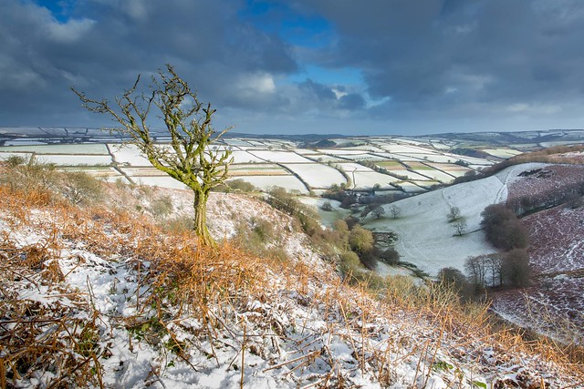 Dusting of Snow at the Punchbowl Exmoor