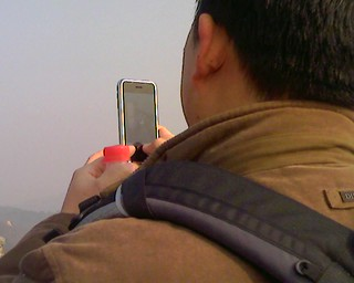 An iPhone on the Great Wall of China