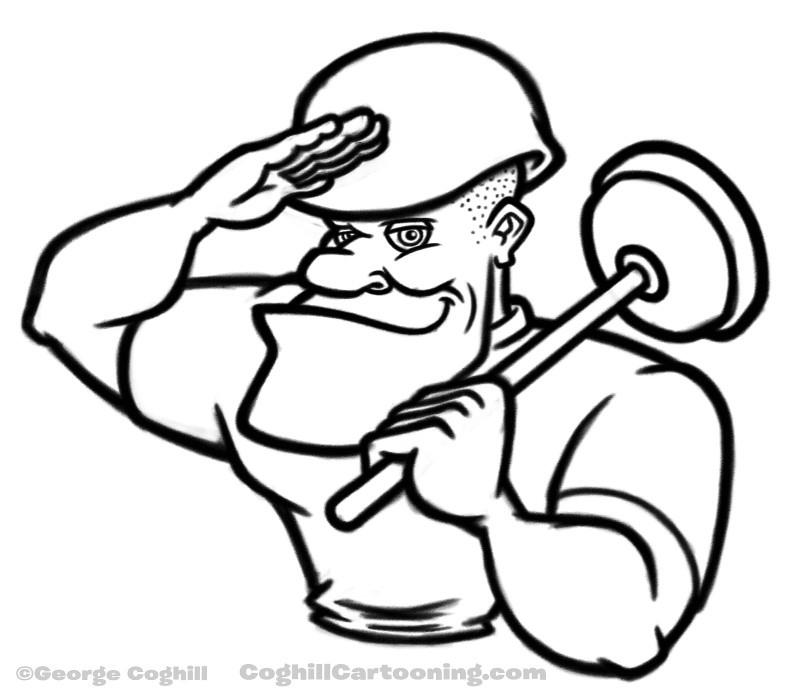 Saluting Cartoon Soldier With Plunger Sketch Working Sketc Flickr