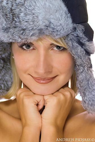 Beautiful Young Girl In Winter Fur Cap Strobist Info Same