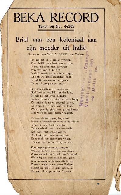 Brief van een koloniaal aan zijn moeder uit Indie, Willy Derby bladmuziek