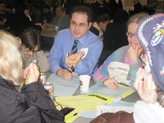 Dan moderates a discussion table at the community forum about the West Side Rail Yards.