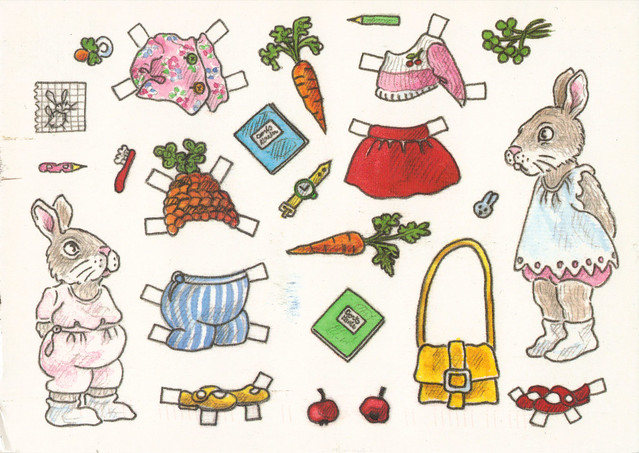 Bunny Paperdoll Postcard