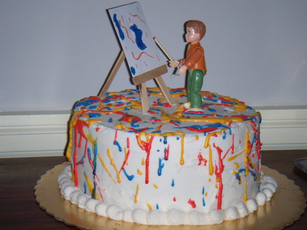 Awe Inspiring Painter Birthday Cake My Nephew Asked If I Could Make A Ca Flickr Funny Birthday Cards Online Hendilapandamsfinfo