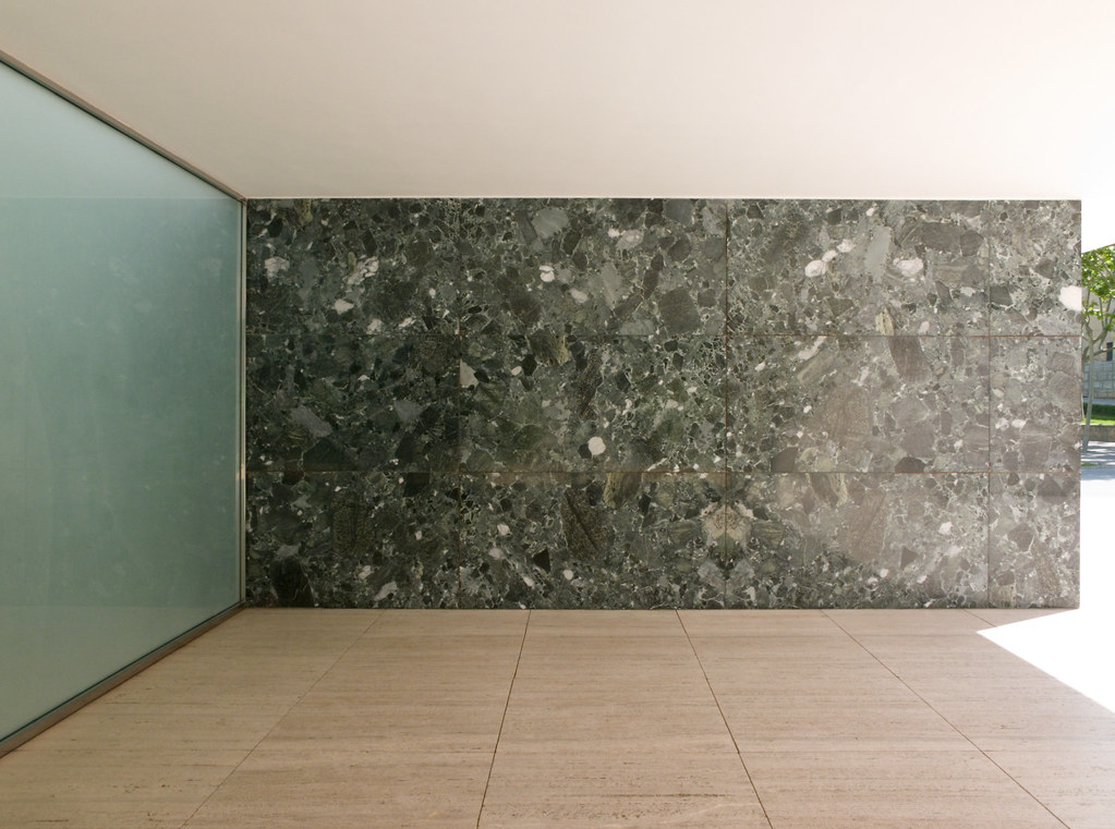 Barcelona Pavilion Marble Wall With Skylit Sandblasted