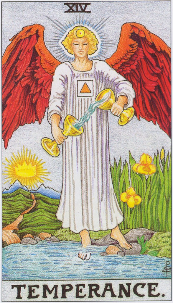 14 Temperance   The Archangel of Fire, Michael, stands aside