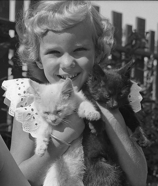 Nancy with pets circa 1953