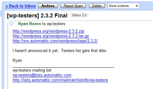 Wordpress 2.3.2.