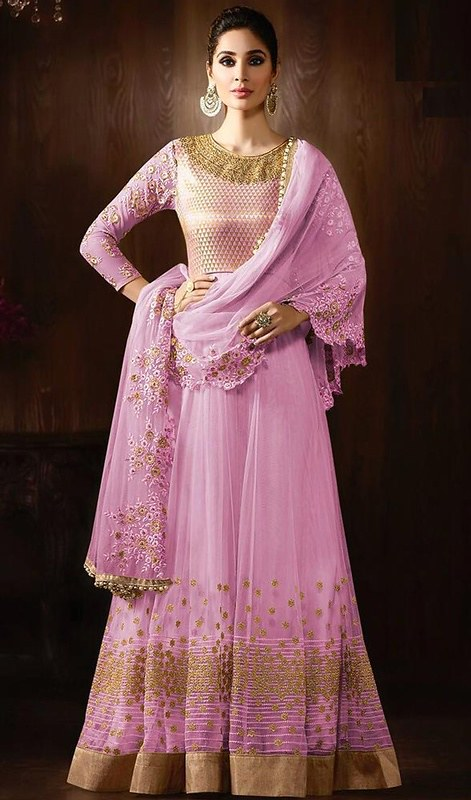 3d6907a8e0 ... Rose Pink Color Shaded Net Floor Length Anarkali Suit   by kaneeshausa