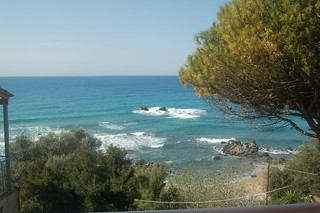 Pelekas beach - view from our room's balcony at Sun Rock hostel | by oanababy