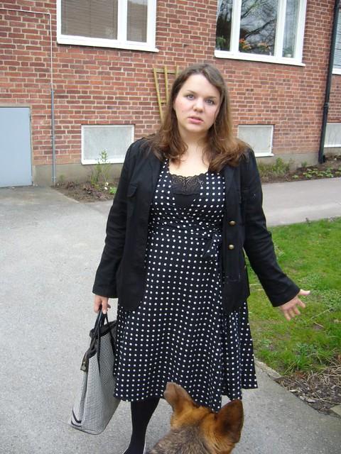 Polka dot dress and DOG
