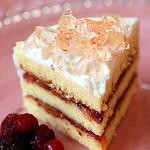 raspberry & peach cake