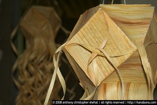 vesak lantern made from timber shavings