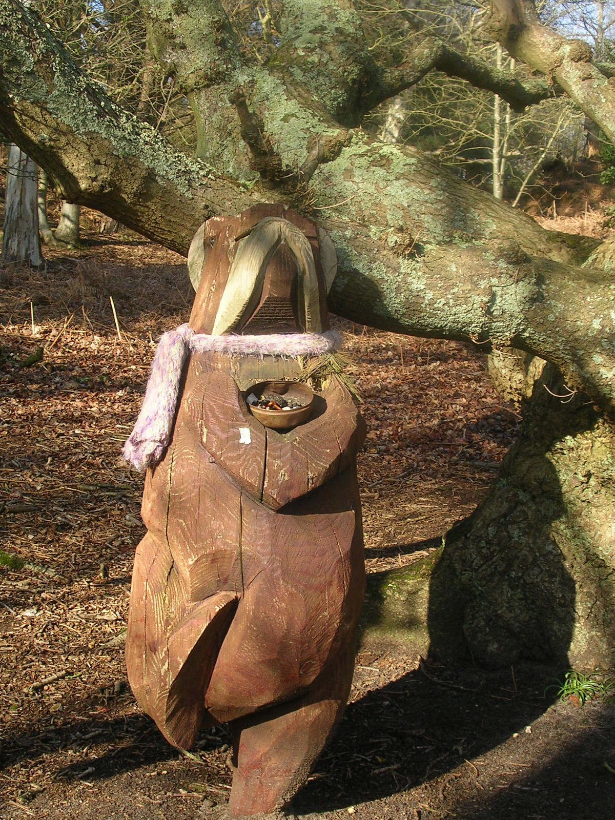 Unexplained bear Opportunistic carved bear, dancing and begging in the woodland. Do the authorities know? Amberley to Pulborough
