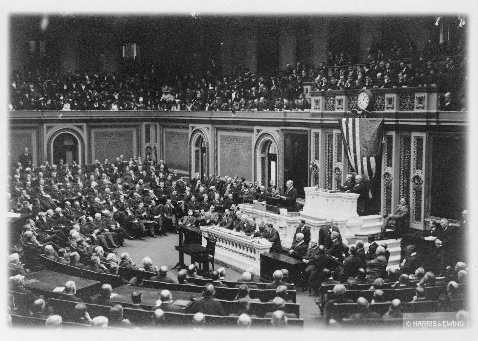 No Known Restrictions: President Woodrow Wilson Addresses Congress, 1917 (LOC)