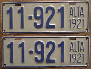 ALBERTA 1921 license plate pair, number 11-921