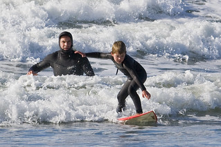 Father and son surf lesson in Morro Bay, CA 1 of 12 | by mikebaird