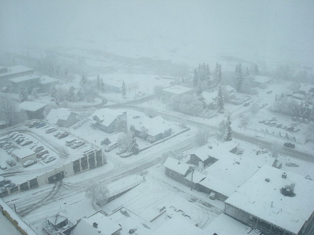Snow in Anchorage downtown from the hotel room
