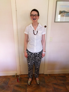 Burda short sleeve silk blouse and altered RTW pants | by Chronically Siobhan