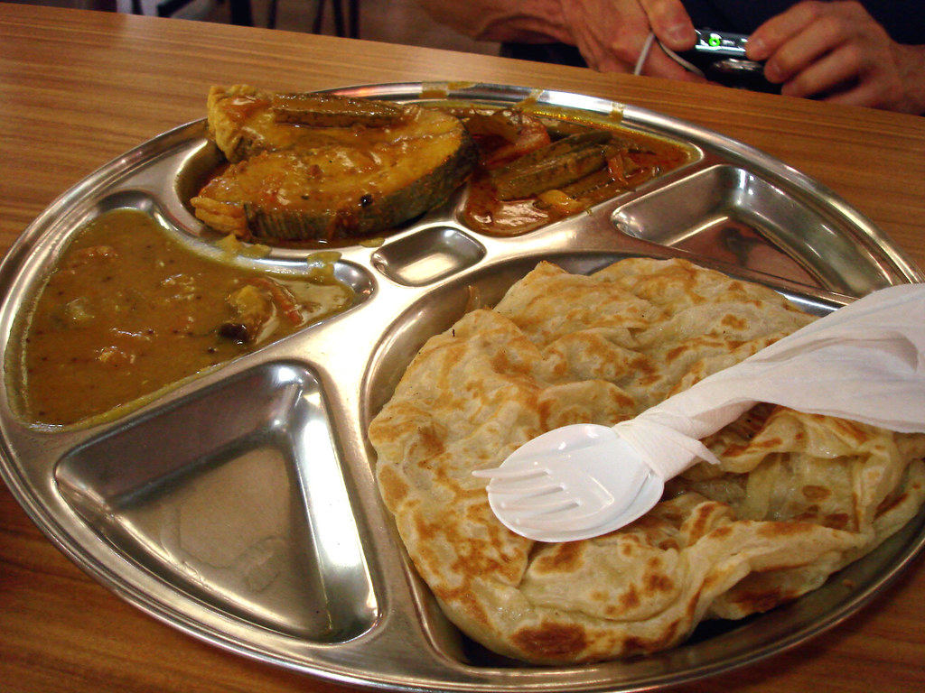 Roti Canai with Fish Curry