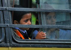 Viewed from a taxi - A school bus in Kolkata | by Treescaper