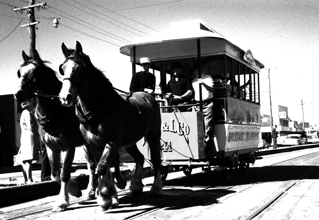 horse darwn tram by Leonard J Matthews